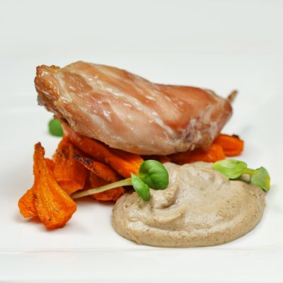 Rabbit With Roasted Carrots And Mushroom Sauce